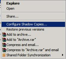 Configure Shadow Copies