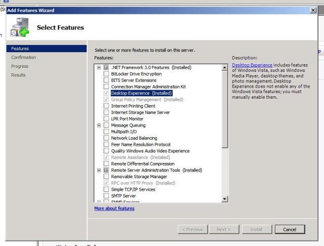 Desktop Experience Feature