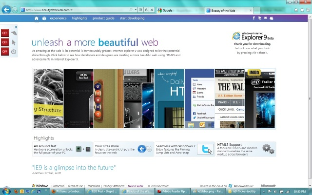 Beauty of the Web, IE9