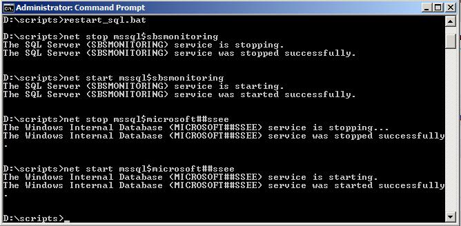 Batch File To Restart SQL Database MICROSOFT##SSEE   Smart