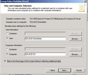 Group Policy Modeling Wizard