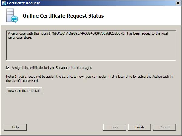 Online Certificate Request Status
