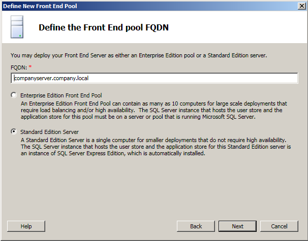 Front End FQDN